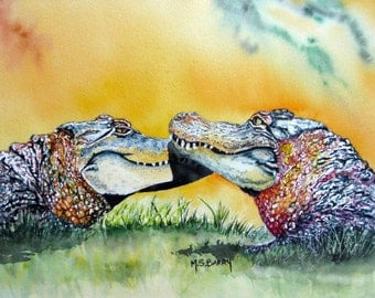 The Kiss - Watercolor Alligator print of an original piece of artwork.