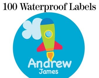 "100ct Waterproof Name Labels - Baby Bottle Labels - Kids Name Tag Labels, Rocket 1"" Round"