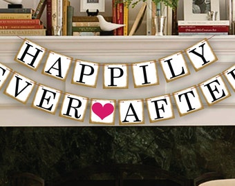 Happily Ever After Banner - Wedding Photo Prop - Wedding Sign - Reception Garland - Wedding Banner
