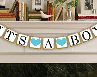Its A Boy Banner - Party Photo Prop - Baby Announcement Garland - Its A Boy Sign