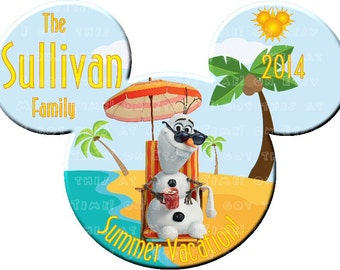 IRON-ON Summer Vacation Ears with OLAF (Beach Chair) - Mouse Ears T-shirt Transfer