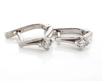 1/2 carat Gold Diamond Earrings-14K White Gold Earrings-0.5 ct Omega Back Earrings-Women Earrings-anniversary present-birthday gifts for her