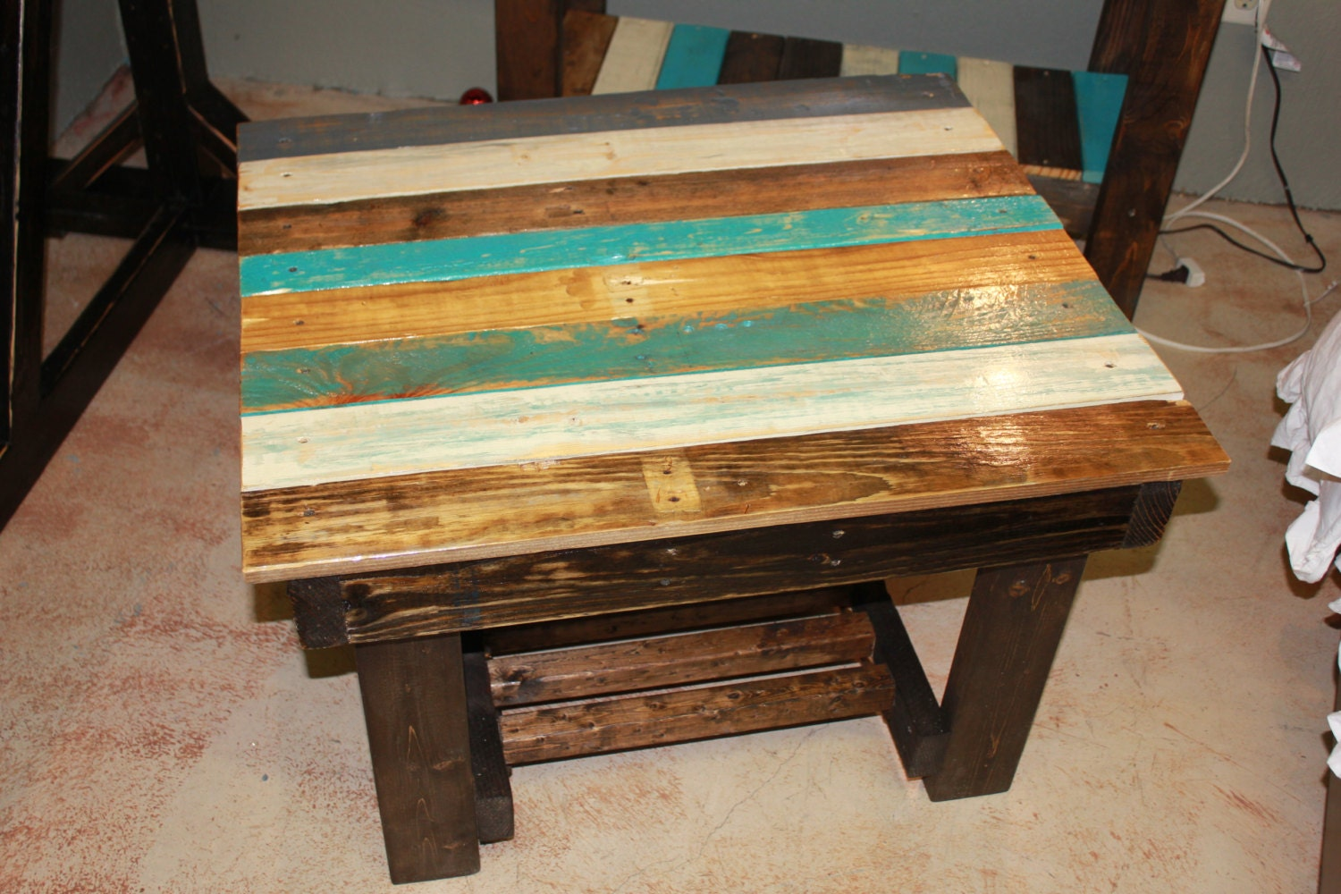 Multi Colored Blue White Stain Coffee Table
