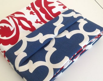 Reversible Duvet Cover in red and blue , Twin and Full/Queen & King