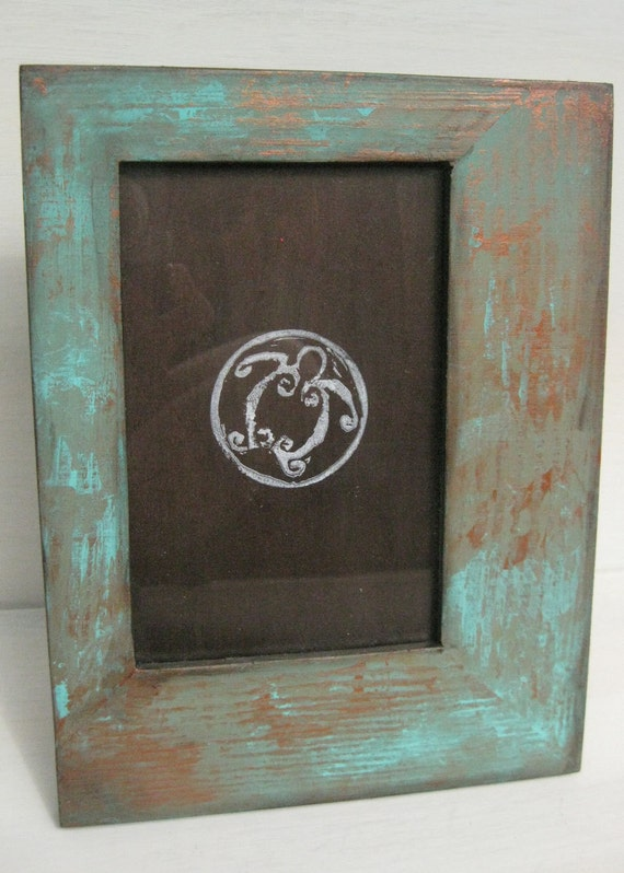 hand painted 4 x 6 wood picture frame with faux. Black Bedroom Furniture Sets. Home Design Ideas