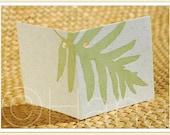 Letterpress Silhouette LAUAE FERN LEAF [Beach / Tropical] Mini Gift Tag Note Card for Wedding / Anniversary / Birthday / Favor