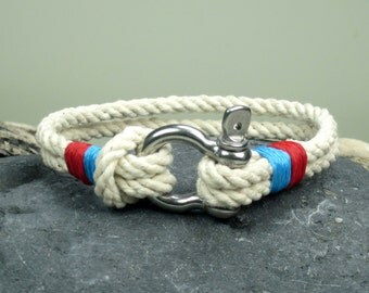 EXPRESS SHIPPING Natural Sailing bracelet. Men's Bracelet, Nautical Sailing Bracelet Stainless steel Shackle - Paracord Bracelet- Blue - red