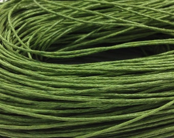 10 yds. Green Waxed Cotton Cord 1mm for Bracelet/ Necklace