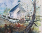 Amish church painting watercolor original 22x15 unmatted - church art - country village - religious art - original watercolor