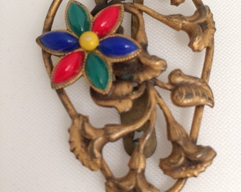 Antique Art Nouveau Dress Clip Brass Multi Color Glass Flower lovely condition.