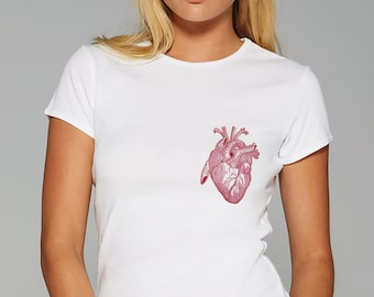 Gift T Shirt Heart T Shirt Women Tee Ladies Top 100% Cotton T Shirt