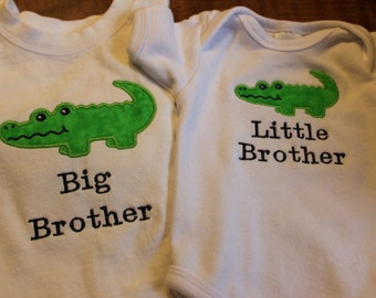 Big Brother and Little Brother Shirts with Crocodile or Alligator