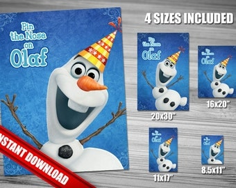 Pin the Nose on Olaf - Frozen Birthday Game - INSTANT DOWNLOAD