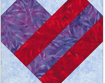 Strip Heart Paper Piece Foundation Quilting Block Pattern