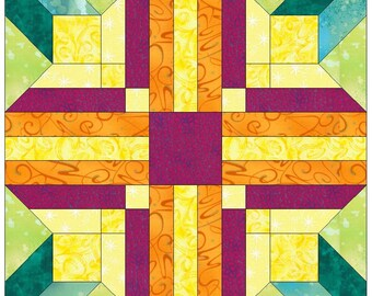 Starflower Paper Piece Foundation Quilting Block Pattern