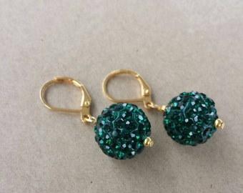 Green Pave Bead Earrings