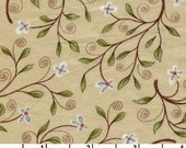 Around Town Vine Flowers print in beige, 100% cotton quilting fabric by Whimsicals for Red Rooster Fabrics -