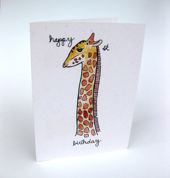 First Birthday Card - Giraffe - Turning 1 - Age 1 - Handmade and printed from original ink and gouache illustration