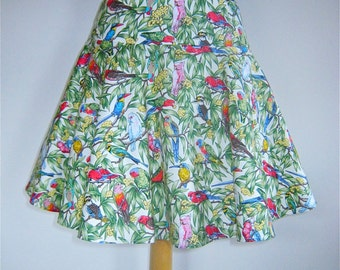 SALE Short Circular Skirt in Parrot Fashion fabric, from Bird of Paradise Clothing. NOW 40% OFF