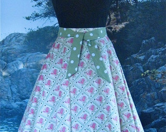SALE Simple Circle Skirt in Vintage Romance, green, fabric, from Bird of Paradise Clothing. NOW 40% OFF