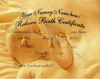 Reborn Birth Certificates (Your Custom Nursery Name) 5 Certificates