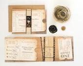 Lyndsay and Josh: Rustic movie ticket wedding invitation
