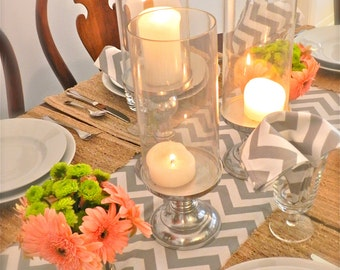 GRAY TABLE RUNNER 13 x 84 Gray Chevron Table Runners silver Wedding Showers Decorative Grey Holiday Table Runner Cloth