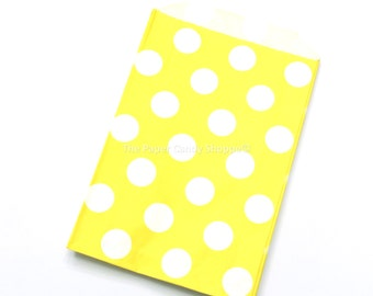 Favor Bags in Dots, 12  Yellow Polka Dot Gift Bags, Popcorn Bags, Candy Buffet Bags, Candy Bag, Wedding, Baby Shower, Birthday