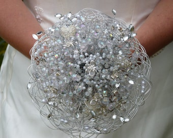 Wedding flowers - bridal bouquet with hearts and butterflies - wedding bouquet in silver - brooch bouquet alternative