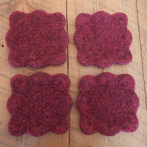 Cup coasters knit wool felted with scalloped by SewManyPrims