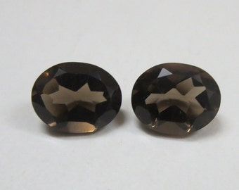 Pair 2 pieces 7x9mm SMOKY QUARTZ Faceted Oval Gemstone..... Smoky Quartz Oval Faceted Loose Gemstone
