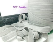5/8 gray elastic, FOE, Wholesale elastic, headband elastic, fold over elastic, diy hair ties, elastic by the yard, shiny elastic