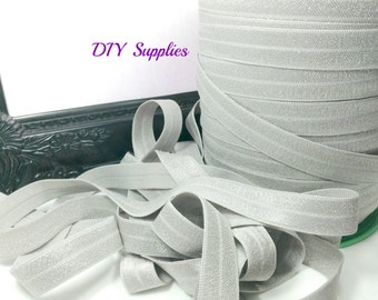 5/8 gray elastic, FOE, Wholesale elastic, headband elastic, fold over elastic, diy hair ties, elastic by the yard, shiny elastic