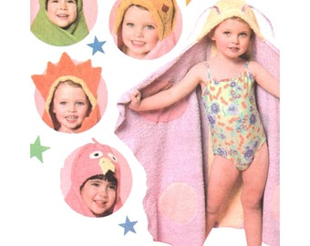 Simplicity Sewing Pattern 4175 Princess, Sun, Butterfly, Flamingo and Frog decorated hooded bath towels for children. One Size  Uncut