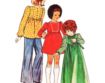 Butterick Sewing Pattern 3455 Girls' Dress, Top and Pants Used  Size:  4