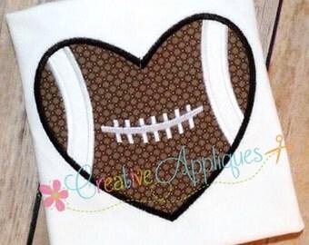Football Heart Digital Machine Embroidery Applique Design 4 Sizes, football applique, football love applique, football embroidery