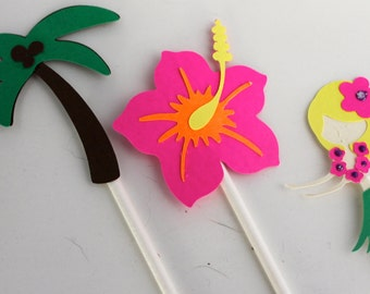 Tropical Cupcake Toppers - set of 12