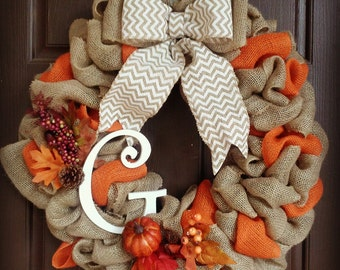 "18"" Fall Burlap Wreath with Initial"