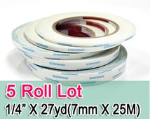 "Sookwang Double Sided Adhesive Tape : 5 Roll Lot 1/4"" x 27 yards Double-sided Tape"