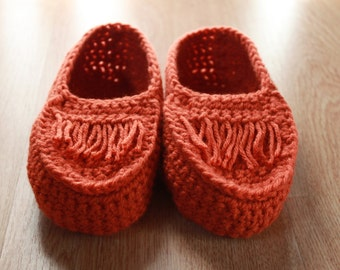 Orange moccassin slippers - women size small