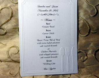 50 MENUS EMBOSSED and customized personalized for your WEDDING or other party