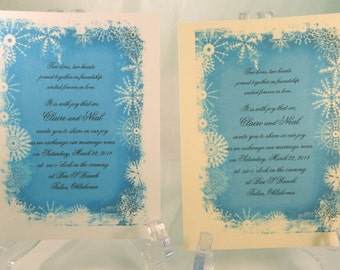 50 Winter Snow Invitations for Weddings or any Occasion Customized for You