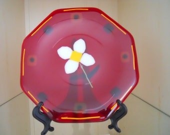 Fused glass plate octagon with ruby red glass and flower detail decorative dish for serving or spring decorating