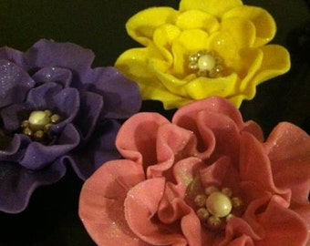 Edible Fantasy Flowers Cupcake or Cake Toppers