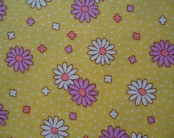 "Fat Quarter of Lecien Retro 30's Child Smile Yellow Daisy Fabric. Approx. 18"" x 22"" Made in Japan"
