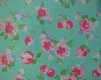 "Fat Quarter of Lecien Old New 30's Collection. Pink Floral and Cherries on Green  Background.  Approx. 18"" x 22""   Made in Japan"