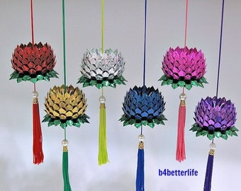 Lot of 6pcs Origami Hanging Lotus Size Small (4D Glittering Paper Series). #FLT-31.