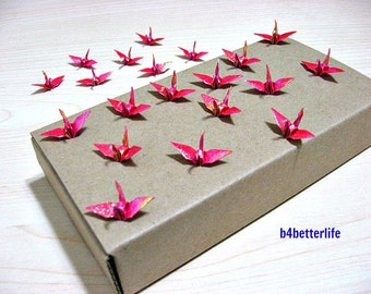 "100pcs Red Color 1-inch Origami Cranes Hand-folded From 1""x1"" Square Paper. (TX paper series). #FC1-29."