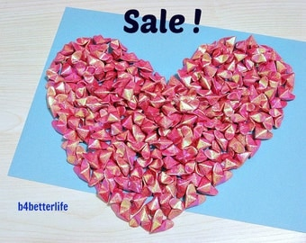 Sale! Lot of 200pcs Red Color 3D Origami Hearts LOVE. (RS paper series).