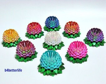 Lot of 9pcs Mini Size Origami Lotus In Assorted Colors. (TX paper series). #FLT-134.